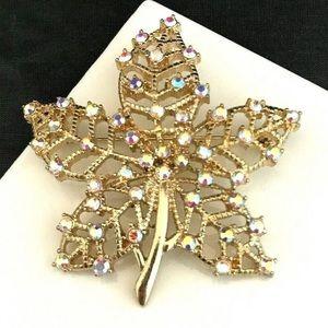 Vintage Pin Pendant Leaf Design AB Crystals 2F